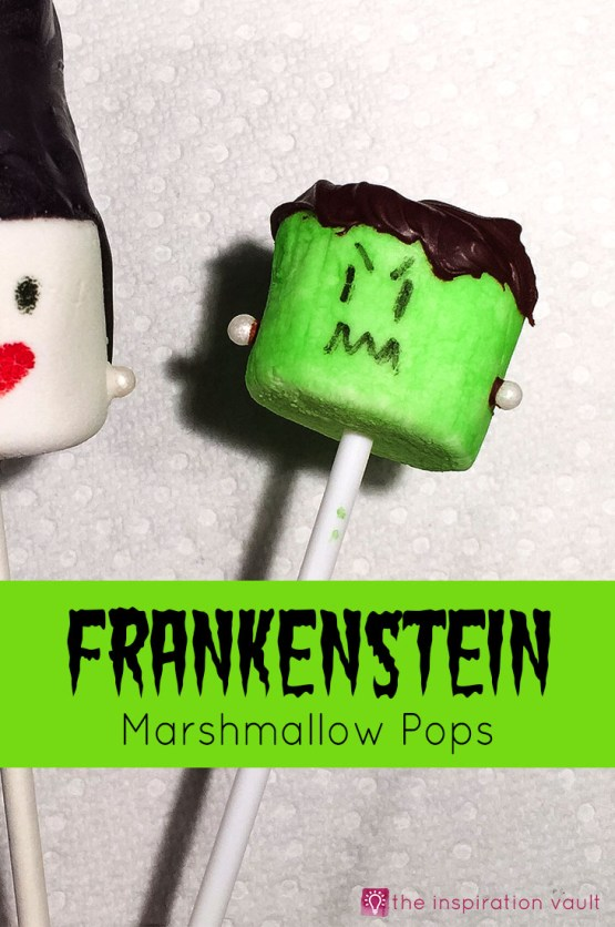 Frankenstein Marshmallow Pops from 30 Halloween Food & Treats Kids Will LOVE