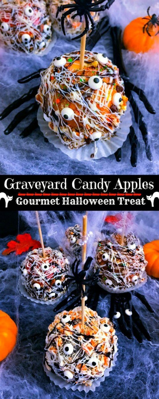 Graveyard Candy Apples from 30 Halloween Food & Treats Kids Will LOVE