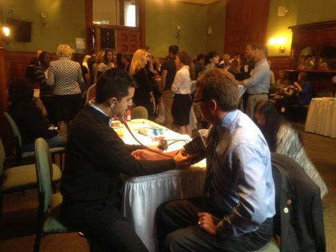 MPPs had the opportunity to learn what PAs do, how they can help Canadians. Here Sahand, an ER PA, takes an MPPs blood pressure.