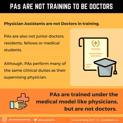 Physician Assistants are not doctors in training