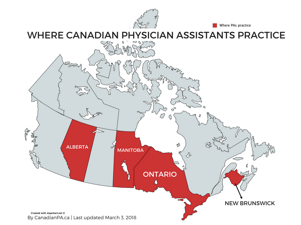 Where Canadian Physician Assistants practice in Canada
