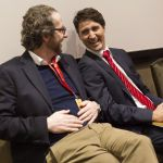 Justin Trudeau, right, chats to his chief advisor Gerald Butts after taking part in the the Liberal leadership debate in Mississauga, Ont., on Saturday, February 16, 2013. THE CANADIAN PRESS/Chris Young ORG XMIT: CHY108