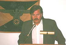 CSIS agent Grant Bristow speaking at a Toronto Nazi rally