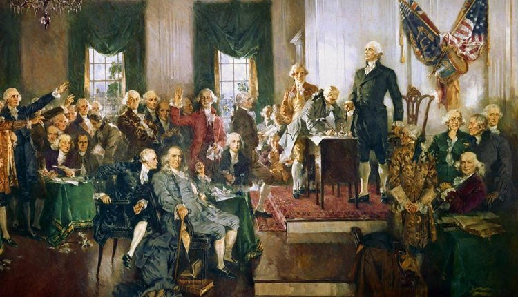 Ben Franklin at the signing of the US Constitution. Alexander Hamilton is to his right