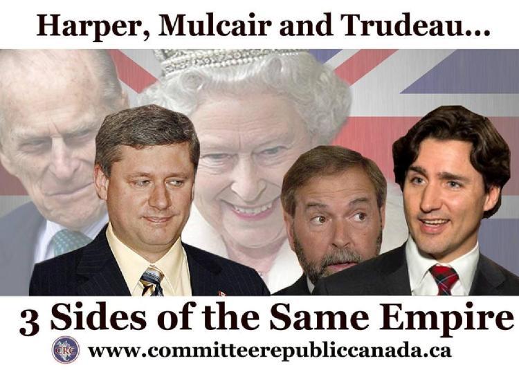 Haper Mulcair Trudeau same empire