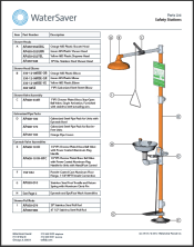 WaterSaver parts list for safety stations
