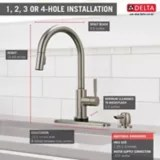 delta trask single handle pull down kitchen faucet soap dispenser with touch2o technology