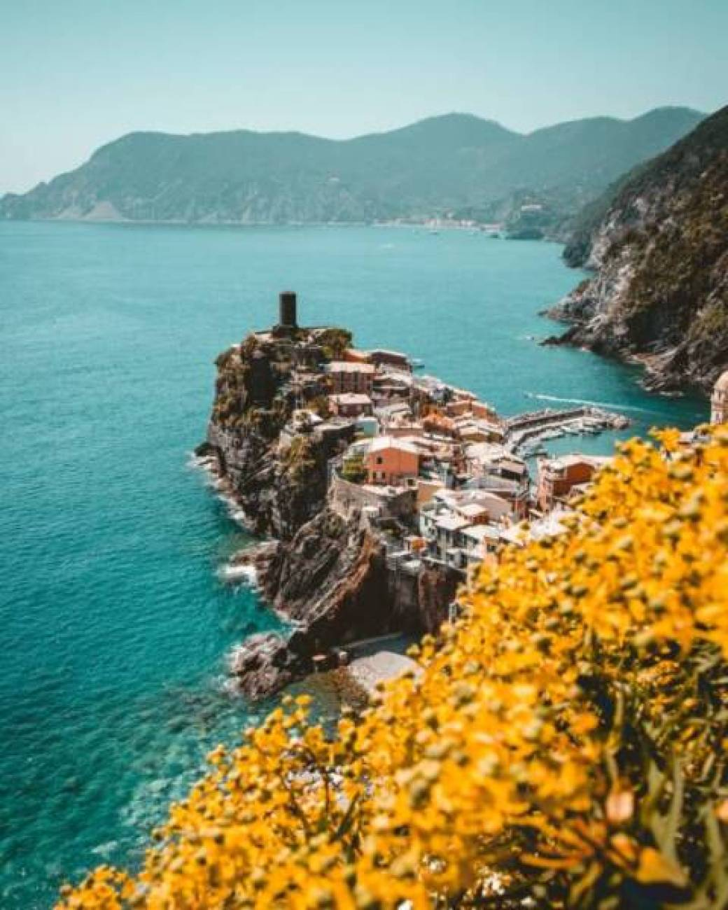 aerial photography of cinque terre in italy
