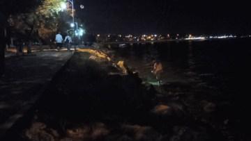 (Özel) Gece yarısı denizde yürüyerek yengeç avına çıktı