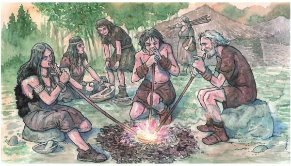 Ilustración de la recreación de la reducción del metal en la que se ve que en las primeras etapas metalúrgicas en la prehistoria