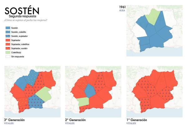 EjEjemplo de uno de los mapas contrastivos elaborado por los investigadores de Vitalex para ilustrar la evolución de una palabra en la Alpujarra granadina, en este caso, 'sostén'.