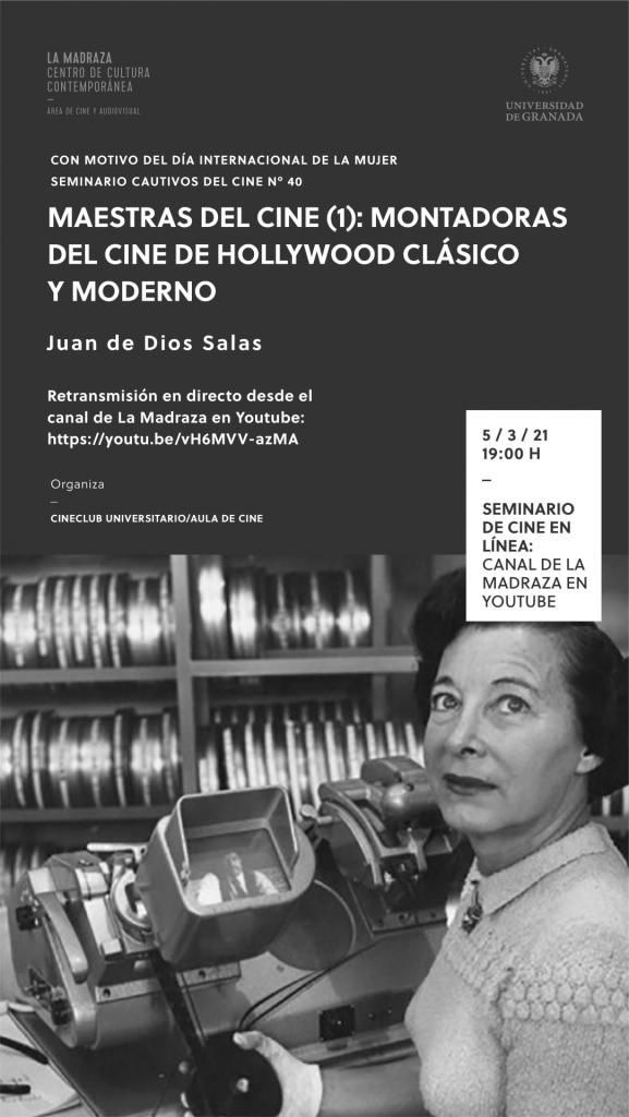 Cartel del seminario de cine sobre las montadoras de Hollywood