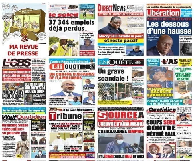 La Une des quotidiens sénégalais du lundi 30 novembre 2020.