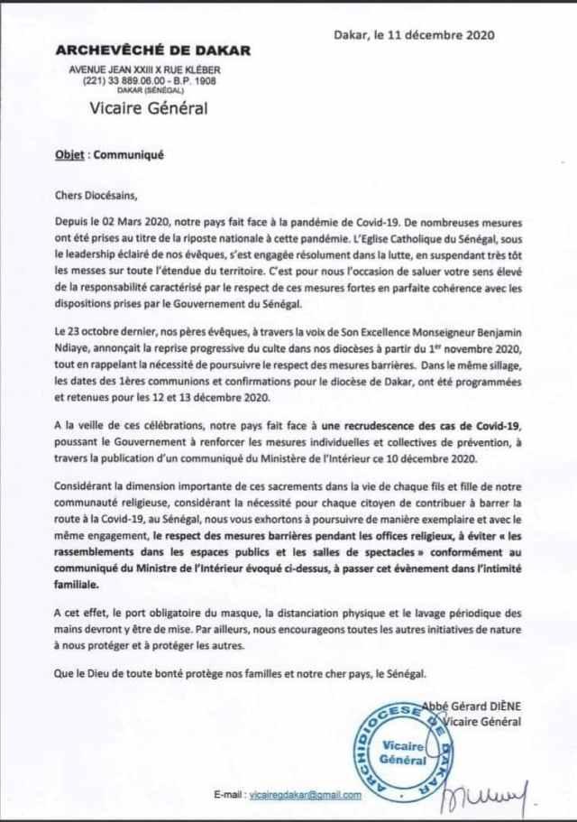 Les premières Communions et confirmations programmées par le Diocèse de Dakar.