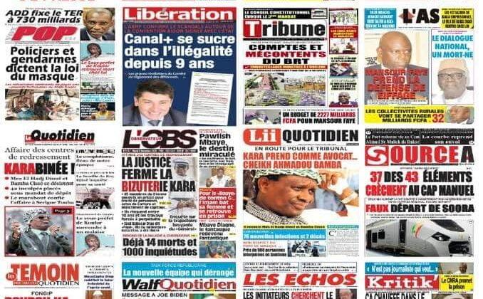 Revue de presse sénégalaise du mardi 8 décembre 2020