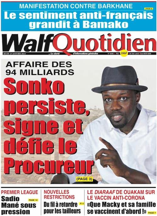 La Une du quotidien sénégalais du jeudi 21 janvier 2021.