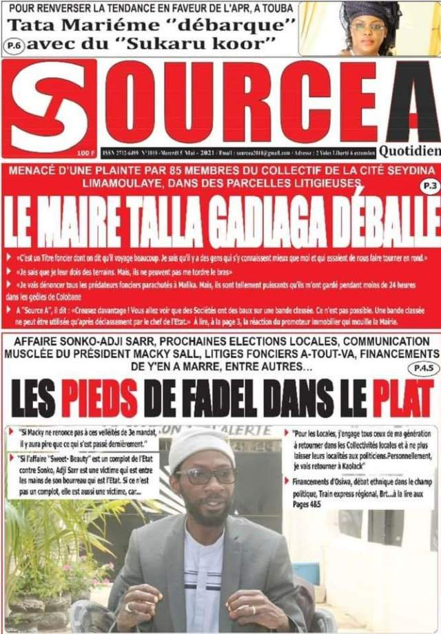 La Une du quotidien sénégalais du mercredi 5 mai 2021.