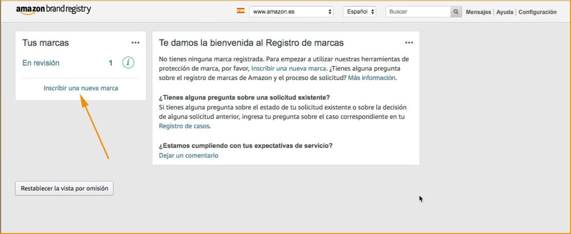 Amazon Brand registry - pagina principal
