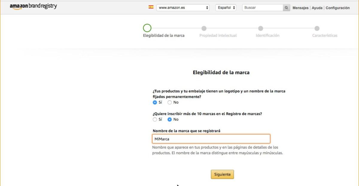 Amazon Brand Registry - Registrar marca en Amazon - Nueva marca - Paso 1 - Ejemplo rellenado