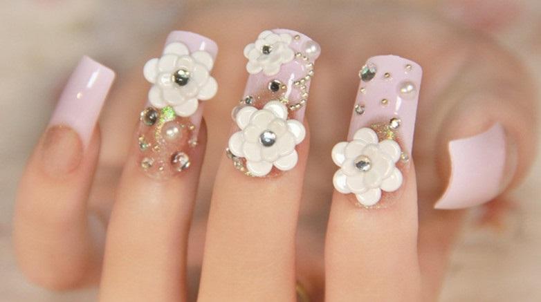 uñas con flores 3D paso a paso bonitas