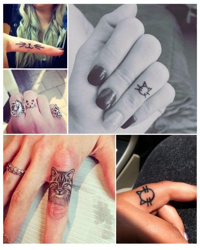 tatuajes de gatos en la mano