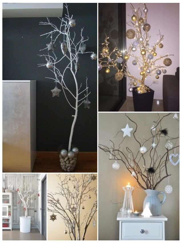 decorar con ramas secas en Navidad
