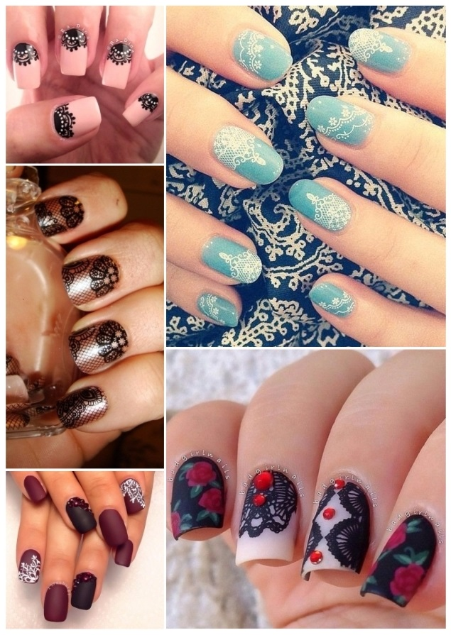 como pintar las uñas con encaje