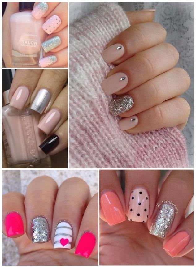 decoracion de uñas en color rosa pastel