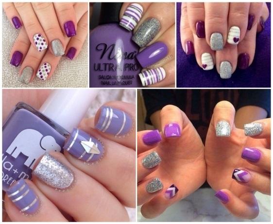 decoración de uñas moradas sencillas