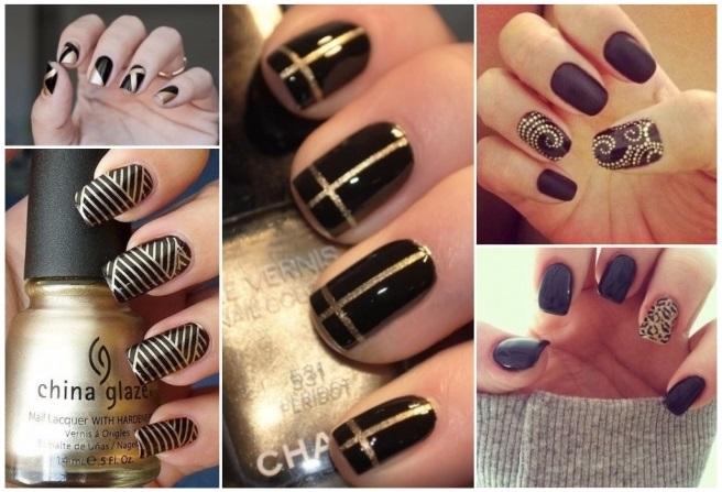 decoración de uñas en negras