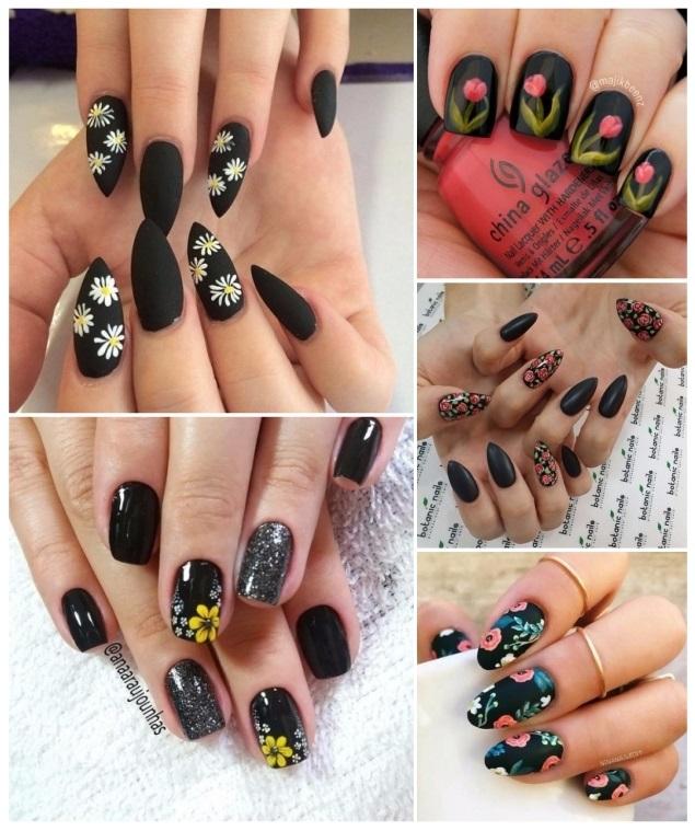 decoración de uñas con flores negras