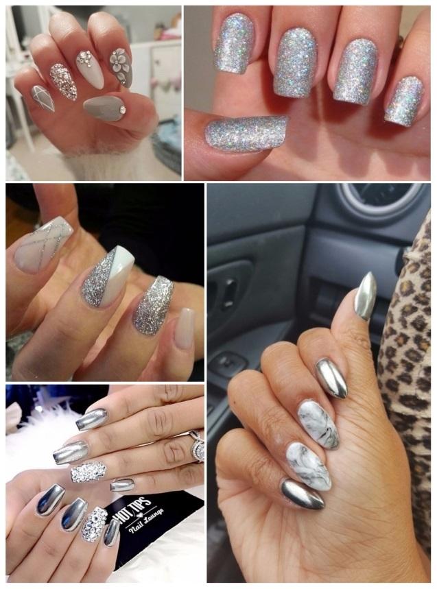 uñas de gel decoradas en plata