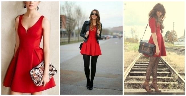 Vestido rojo corto con medias negras