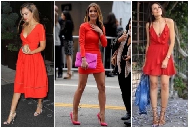 Como combinar un vestido negro con rojo