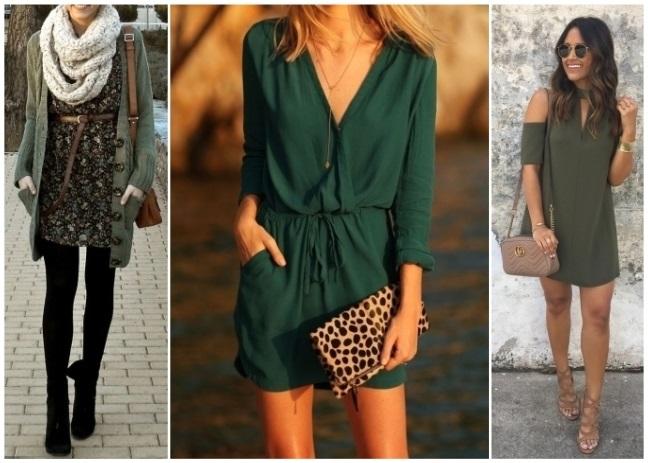 Vestido verde y medias negras