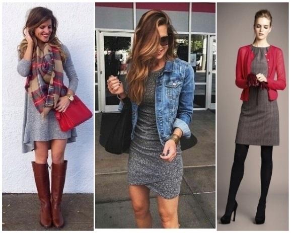 Como combinar un vestido gris corto