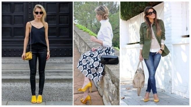 Vestido verde y zapatos mostaza