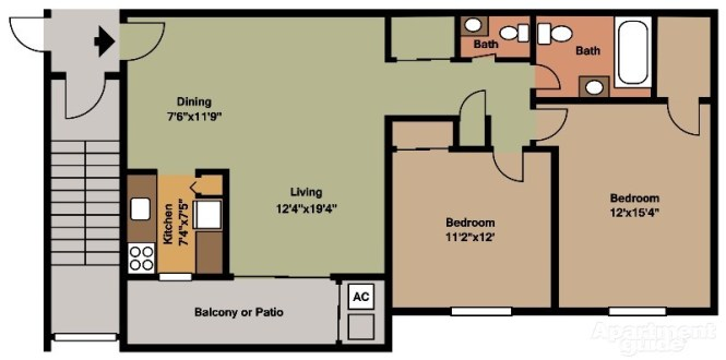 C House 2 Bedroom Floor Plan