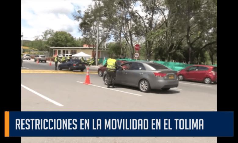 RESTRICCIONES EN LA MOVILIDAD EN EL TOLIMA