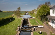 View north over Curdworth Locks 4 to 6.