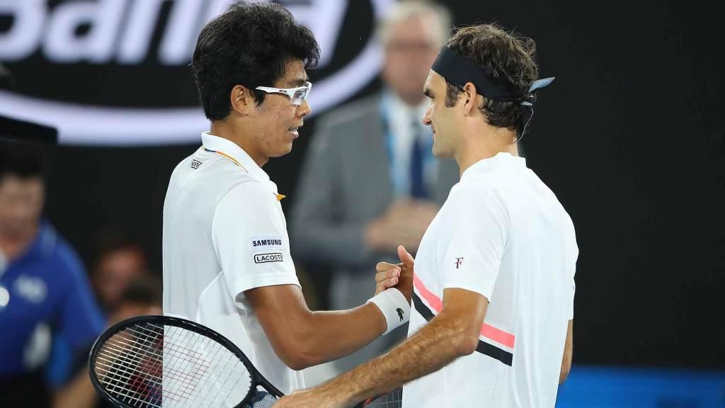 Chung saluda a Federer Open de Australia 2018
