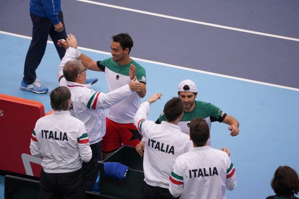 Fognini y Bolelli celebran el triunfon de Italia ante Japón