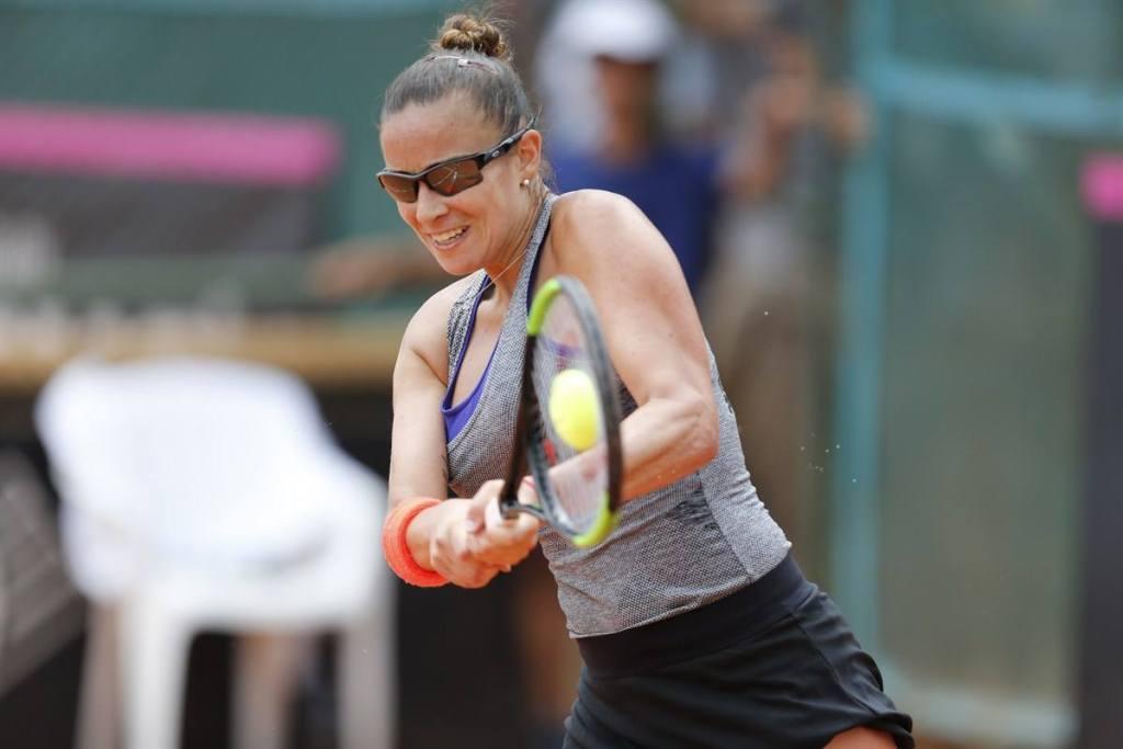 Paula Ormaechea en la Fed Cup con Argentina