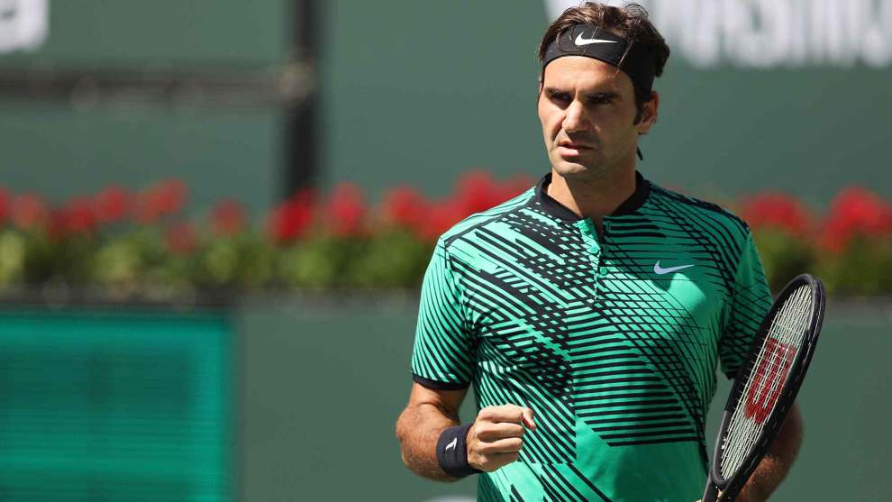 Federer celebra un punto en Indian Wells