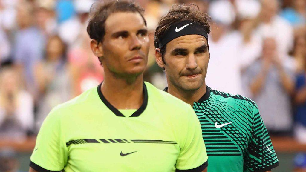 Nadal y Federer tras un partido en el Miami Open