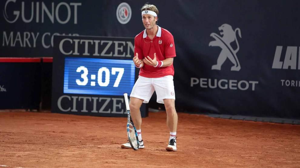 Daniel Gimeno Traver celebra una victoria en el ATP de Hamburgo