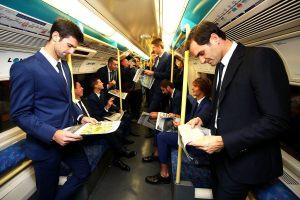Los jugadores de las Nitto ATP Finals en el metro de Londres