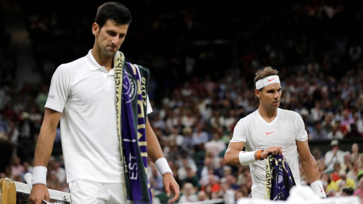 Djokovic y Nadal en su partido de Wimbledon 2018