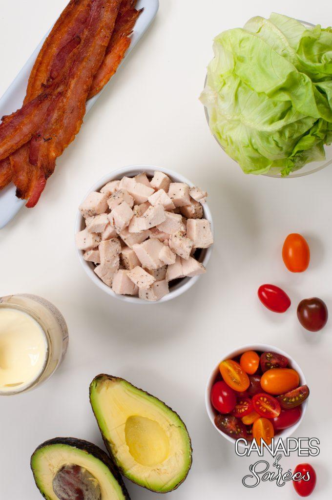 Ingredients for The Best BLT Avocado Chicken Salad