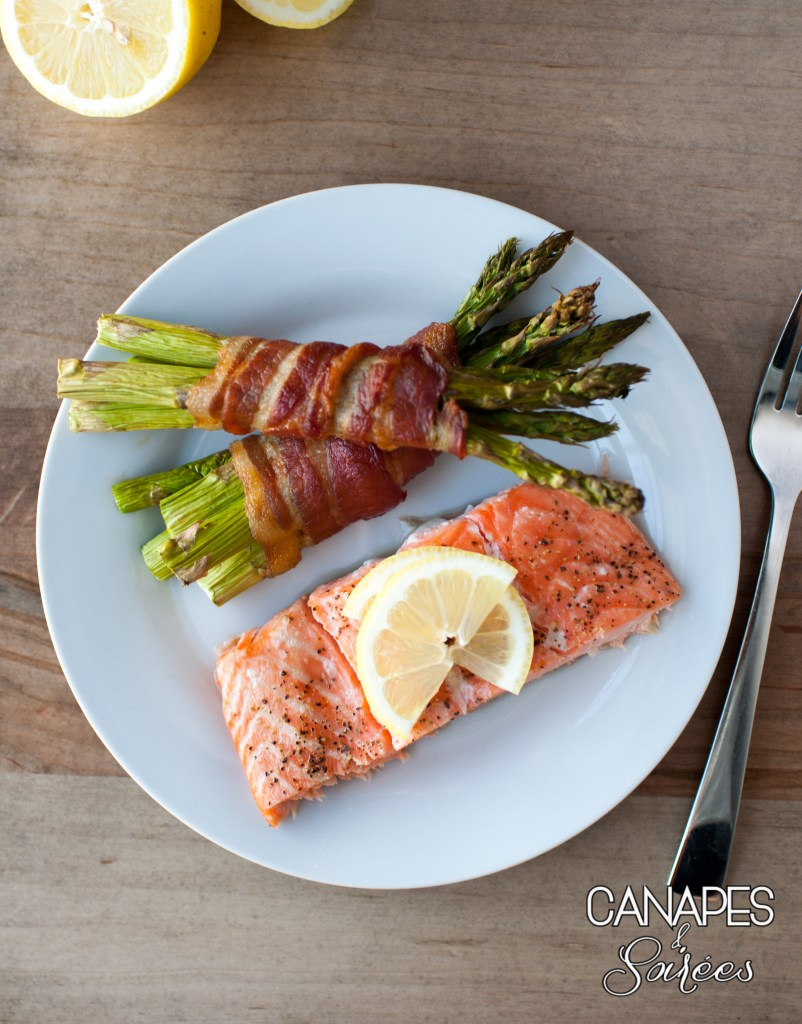 Roasted Salmon with Bacon Wrapped Asparagus Dinner